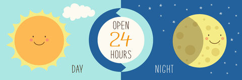 Free Cute Banner For Day And Night Shop With Hand Drawn Smiling Cartoon Characters Of Sun And Moon Royalty Free Stock Photos - 89433888