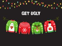 Free Cute Banner For Ugly Sweater Christmas Party Stock Photography - 125583582