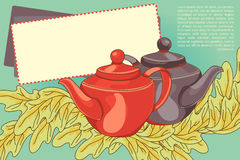 Cute banner/menu card for cafe with teapots and leaves Royalty Free Stock Image