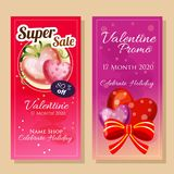Banner sale in valentine theme stock illustration