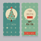 Of cute banners for christmas party in retro palette Stock Photography