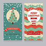 Cute banners for christmas party in retro palette Stock Photography