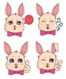 Cute banny badges and stickers. Part 5 royalty free stock image
