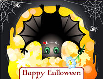 Cute bat. Congratulating you with halloween Stock Photography