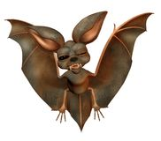 Cute bat 2. 3D render of a fantasy bat with black eyes stock illustration
