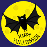 Cute bat and big moon. Happy Halloween card. Flat design. Royalty Free Stock Images