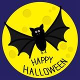 Cute bat and big moon. Happy Halloween card. Flat design. Royalty Free Stock Images