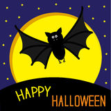 Cute bat, big moon and stars. Happy Halloween card. Flat design. Royalty Free Stock Photo