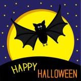 Cute bat, big moon and stars. Happy Halloween card. Flat design. Royalty Free Stock Photo
