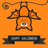Cute bat and black ribbon.  Contour outline animal. Orange background  Happy Halloween card. Flat design. Royalty Free Stock Image