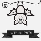 Cute bat and black ribbon.  Contour outline animal. White background  Happy Halloween card. Flat design. Royalty Free Stock Images