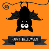 Cute bat and black ribbon. Happy Halloween card. Stock Photo