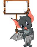 Cute bat cartoon. Hanging wooden signboard Royalty Free Stock Photos