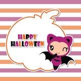 Cute bat girl on pumpkin frame  cartoon illustration for halloween card design Royalty Free Stock Photography