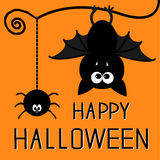 Cute bat and hanging spider. Happy Halloween card. Royalty Free Stock Photos