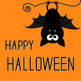 Cute bat. Happy Halloween card. Stock Photos