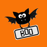 Cute bat with plate boo. Happy Halloween card. Flat design. Royalty Free Stock Images