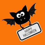 Cute bat with plate Happy Halloween card. Flat design. Stock Photo