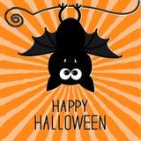 Cute bat. Sunburst background. Happy Halloween card. Flat design. Royalty Free Stock Photography