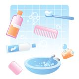 Cute bathroom items Royalty Free Stock Photography