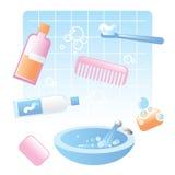 Cute bathroom items. Personal hygiene, bathroom items vector illustration Royalty Free Stock Photography