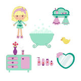 Cute bathroom set Stock Photos