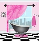 Cute Bathroom With Vintage Claw-foot Tub royalty free illustration