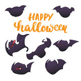 Cute bats character set. Party hand drawn lettering Happy halloween and sketch card. Fun greeting illustration  Royalty Free Stock Image