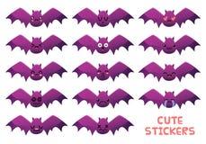 Cute bats icons set vector illustration