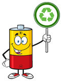 Cute Battery Cartoon Mascot Character Holding A Recycle Sign Stock Images