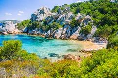 Cute bay surrounded by sand rocks near Porto Rafael, Palau, Sardinia, Italy Royalty Free Stock Photos