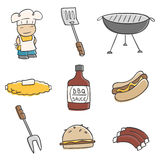 Cute BBQ. Cute and fun BBQ illustrations Stock Photo