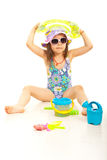 Cute beach girl with toys Royalty Free Stock Photo