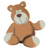 Cute Bear. Illustrated teddy bear toy, isolated on white background Royalty Free Stock Image