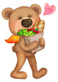 Cute bear. Went to shopping Stock Photography