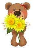 Cute bear. With a bouquet Stock Photos
