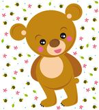 Cute bear. Illustration of cute bear with flowers, leaves and bees Stock Images