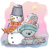 Cute Bear And Snowman Stock Photos