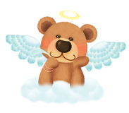 Cute bear angel. To think something with smile Stock Photo