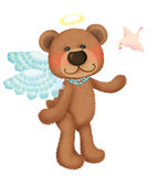Cute bear angel with little bird Stock Image