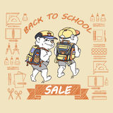 Cute bear with backpack. Back to School Sale. Royalty Free Stock Photos