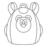 Cute bear backpack icon, outline style. Cute bear backpack icon. Outline cute bear backpack vector icon for web design isolated on white background royalty free illustration