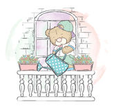 Cute Bear on the balcony watering flowers. Vector illustration for a card or poster. Print on clothes. Charming bear. Stock Photography