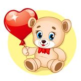 Cute Bear. With balloon in the shape of heart Stock Images