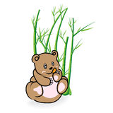 Cute Bear in Bamboo Forrest 03 Royalty Free Stock Image