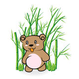 Cute Bear in Bamboo Forrest 01 Royalty Free Stock Photos
