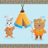 Cute bear and Banny Indian ,headdress and traditional clothing o Royalty Free Stock Images