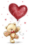 Cute bear with big red heart. Love design.Valentines day postcard.