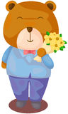 Cute bear with bouquet of flower Stock Photography