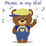 Bear a brown musician in a baseball cap, headphones and blue overalls stands with a raised hand in the style of cartoons royalty free illustration